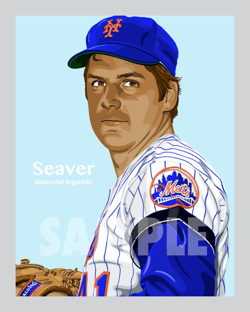 Digital Illustration of Tom Seaver - one of the All-Time Great Diamond Legends of baseball!
