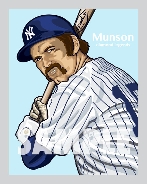Digital Illustration of Thurman Munson - one of the All-Time Great Diamond Legends of baseball!