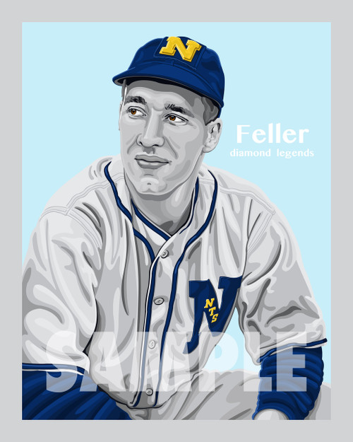 Digital Illustration of Bob Feller – Hall of Famer and one of the All-Time great Diamond Legends of baseball!