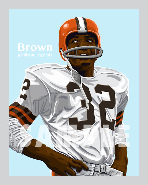 Digital Illustration of who many consider the greatest running back ever, Hall of Famer Jim Brown!