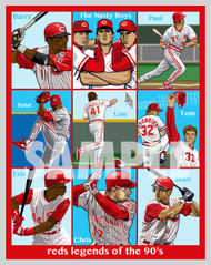 Digital Illustration of the Cincinnati Baseball Team Legends of the 90's. Sweet Lou, The Nasty Boys, Chris Sabo, Mr. Perfect Tom Browning, Eric Davis, they are all here!!