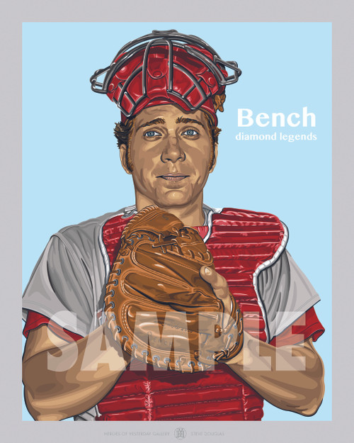 Digital Illustration of Hall of Famer and Cincinnati great, Johnny Bench in the 70's!!