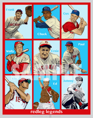 Digital illustration of nine Cincinnati's All-Time Reds Greats, Frank McCormick, Chuck Harmon, Gus Bell, Wally Post, Ernie Lombardi, Paul Derringer, Ted Kluszewski, Ed Bailey, and Johnny Vander Meer!!