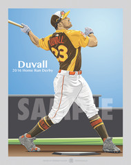 Digital Illustration of one of Cincinnati's up and coming stars Adam Duvall. This illustration features Adam swinging for the fences at the 2016 Home Run Derby in San Diego.