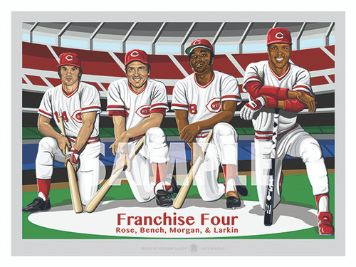 Digital Illustration of Cincinnati's Franchise Four; Hall of Fame Greats Johnny Bench, Joe Morgan, and Barry Larkin and the All-Time Hits Leader Pete Rose!!
