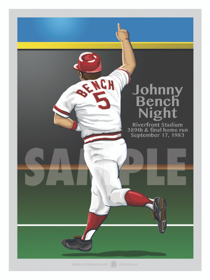 Digital Illustration of Hall of Fame great Johnny Bench's last home run!