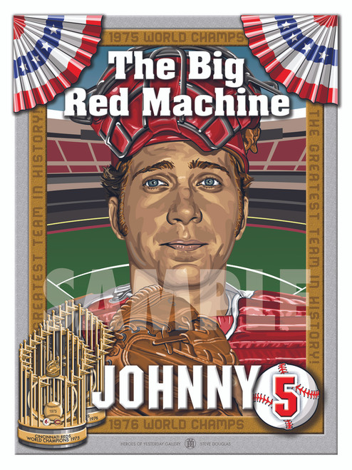 Illustration of the best catcher ever, Big Red Machine and Hall of Famer #5 Johnny Bench!!
