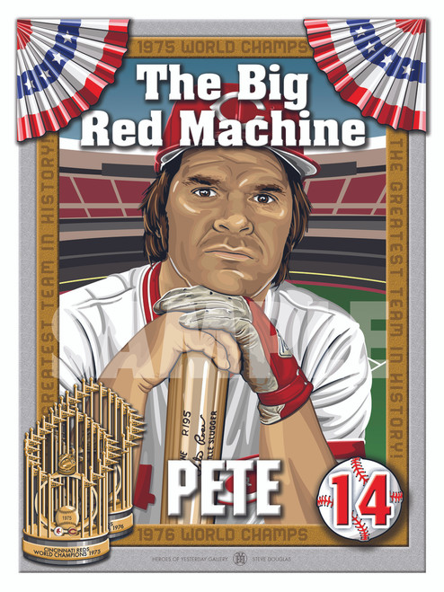 Illustration of Big Red Machine and Cincinnati hometown fan favorite #14 Peter Edward Rose!