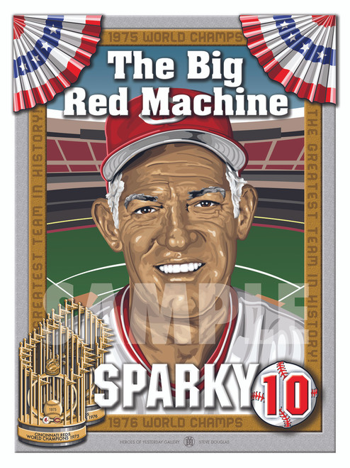Illustration of the Big Red Machine's skipper and Hall of Fame Manager #10 George Sparky Anderson!