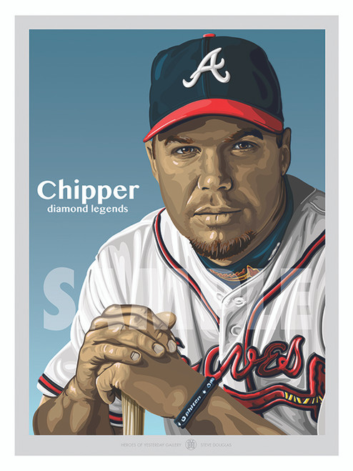 Illustration of one of the All-Time Atlanta Greats and Hall of Famer Chipper Jones!