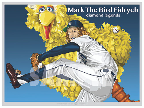 """Illustration of one of the All-Time Detroit Greats and fan favorite Mark """"The Bird"""" Fidyrch!"""