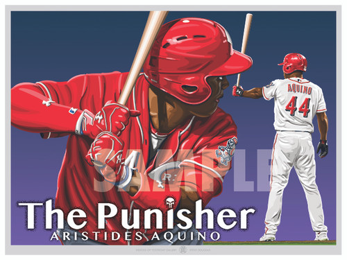 "Illustration of one of baseball's newest stars Cincinnati's Aristides ""The Punisher"" Aquino!"