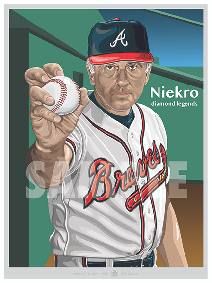 Illustration of one of the All-Time Atlanta Greats and Hall of Famer Phil Niekro.