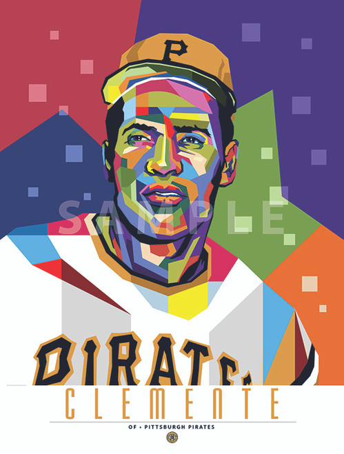 """POP ART series of Hall of Fame Great Roberto Clemente. 12"""" x 16"""" prints are  numbered to only 100."""