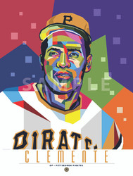 "POP ART series of Hall of Fame Great Roberto Clemente. 12"" x 16"" prints are  numbered to only 100."