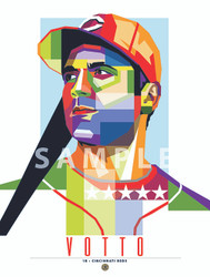 "POP ART series of All-Star and Fan Favorite Cincinnati Great Joey Votto. 12"" x 16"" prints are numbered to only 100."