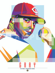 "POP ART series of Cincinnati Star Sonny Gray. 12"" x 16"" prints are numbered to only 55."