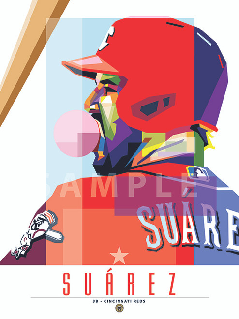 """POP ART series ofCincinnati Great Eugenio Suárez. 12"""" x 16"""" prints are numbered to only 50."""
