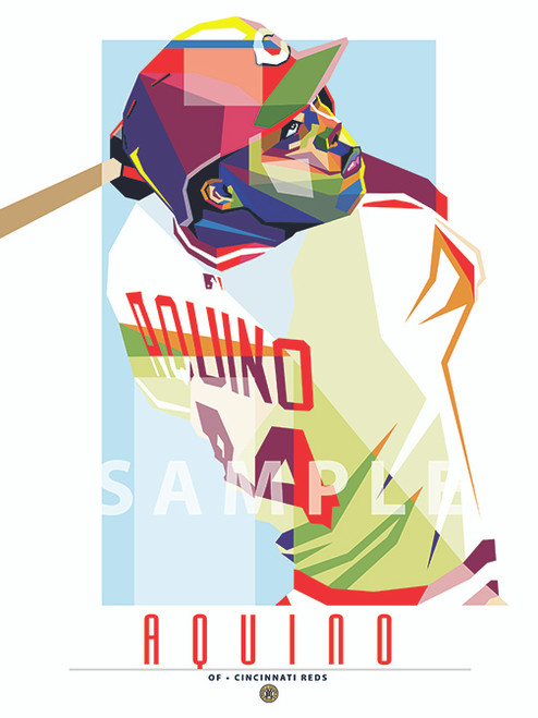 """POP ART series of Cincinnati Fan Favorite Aristides Aquino. 12"""" x 16"""" prints are numbered to only 44."""