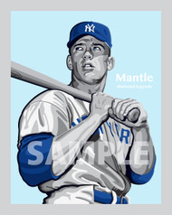 Digital Illustration of Mickey Mantle - one of the all-time great Diamond Legends of baseball