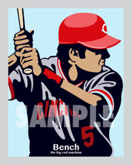 Digital Illustration of Johnny Bench - one of the All-Time Greats from the Big Red Machine!