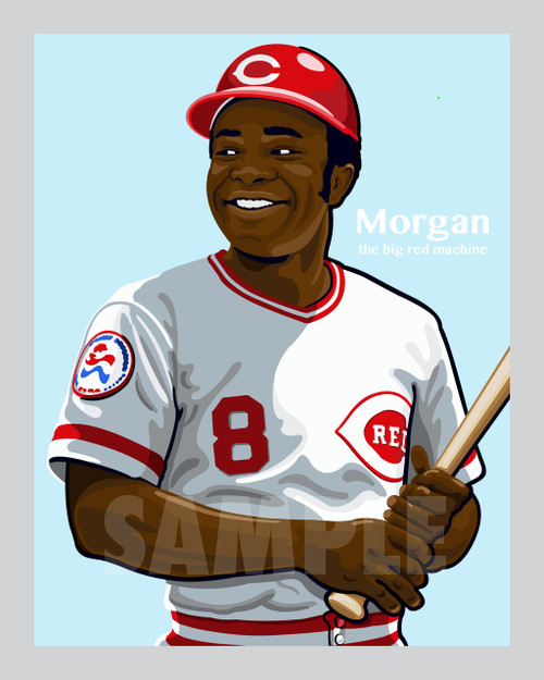 Digital Illustration of Joe Morgan - one of the all-time greats from the Big Red Machine