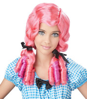 Doll Curls Adult Wig - Coral/Magenta