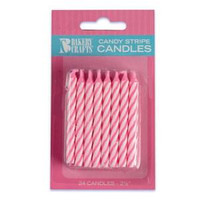 "2.5"" Candy Stripe Candle Pink"