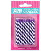 "2.5"" Candy Stripe Candle Purple"