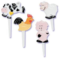 Farm Animals Puffy Cupcake Picks