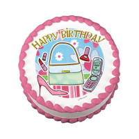 Shopping Girl Birthday Edible Image®