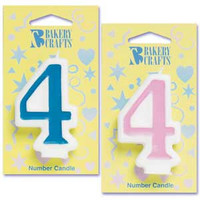 Blue Number 4 Candle