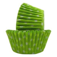 Standard Size Lime Green with White Polka Dot Baking Cups