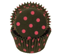 Standard Size Black with Pink Polka Dot Baking Cups