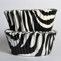 Standard Size Black and White Zebra Baking Cups