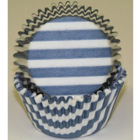 Standard Size Blue Stripe Baking Cups