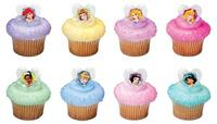 Disney Princess Glitter Heart Cupcake Toppers/Rings