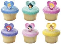 Disney Princess Jewel Heart Cupcake Toppers/Rings