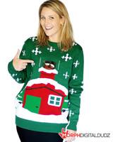 Stuck Santa Christmas Adult Sweater