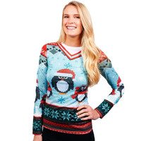 Ladies Winter Penguin Sweater S