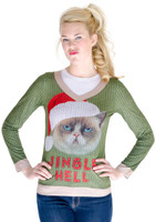 Jingle Hell Cat Ugly Christmas Adult Sweater