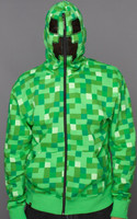Minecraft Creeper Premium Zip-Up Adult Hoodie