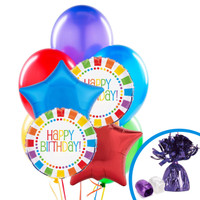 Rainbow Birthday Party Balloon Bouquet