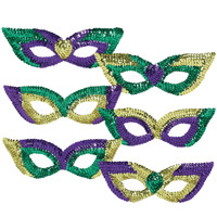 Mardi Gras Sequin Party Masks (Pack of 6)