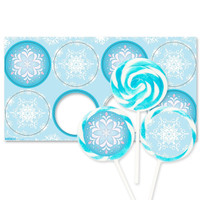Snowflake Winter Wonderland Deluxe Lollipop Favor Kit
