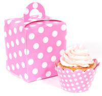Hot Pink and White Polka Dot Cupcake Wrapper & Box Kit