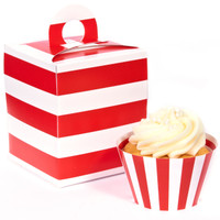 Red and White Striped Cupcake Wrapper & Box Kit