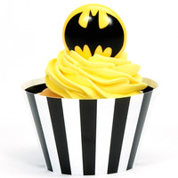 Batman Cupcake Wrapper & Pick Kit