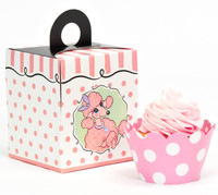 Pink Poodle Cupcake Wrapper & Box Kit