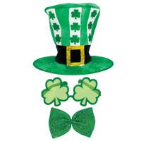 St. Patrick's Day Top Hat, Shamrock Sunglasses & Giant Bowtie Accessory Bundle